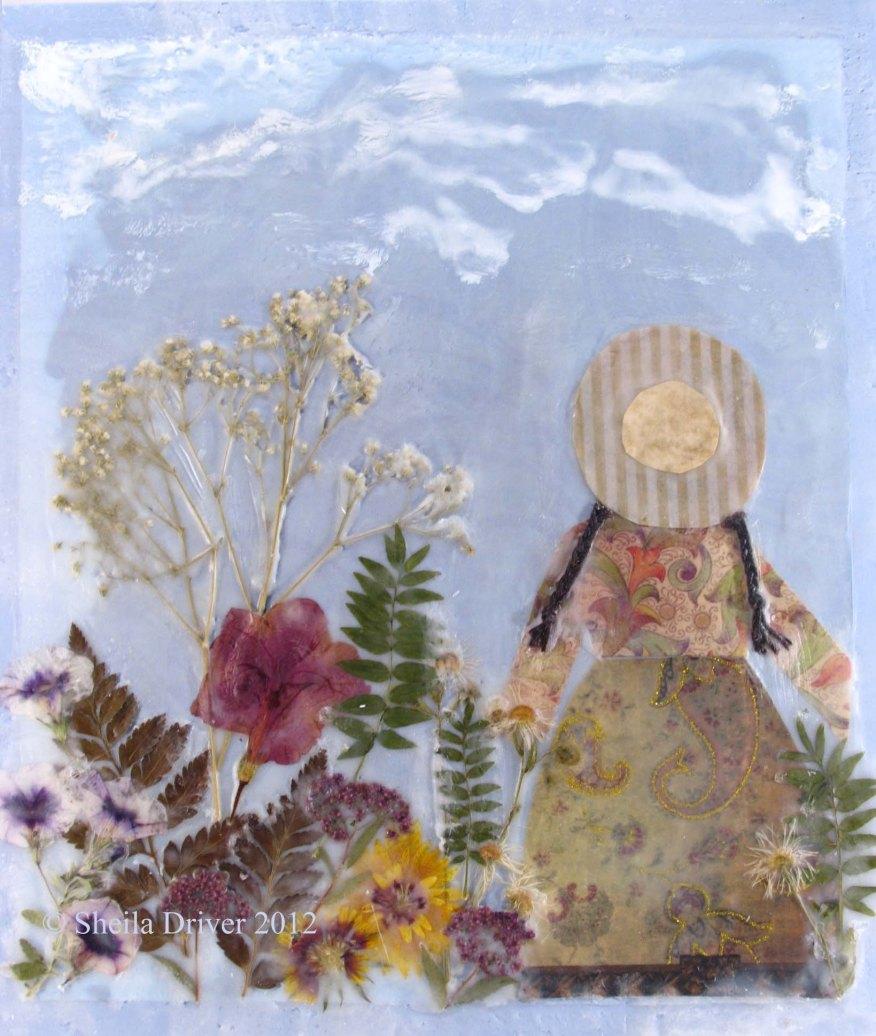 encaustic pressed flower garden painting