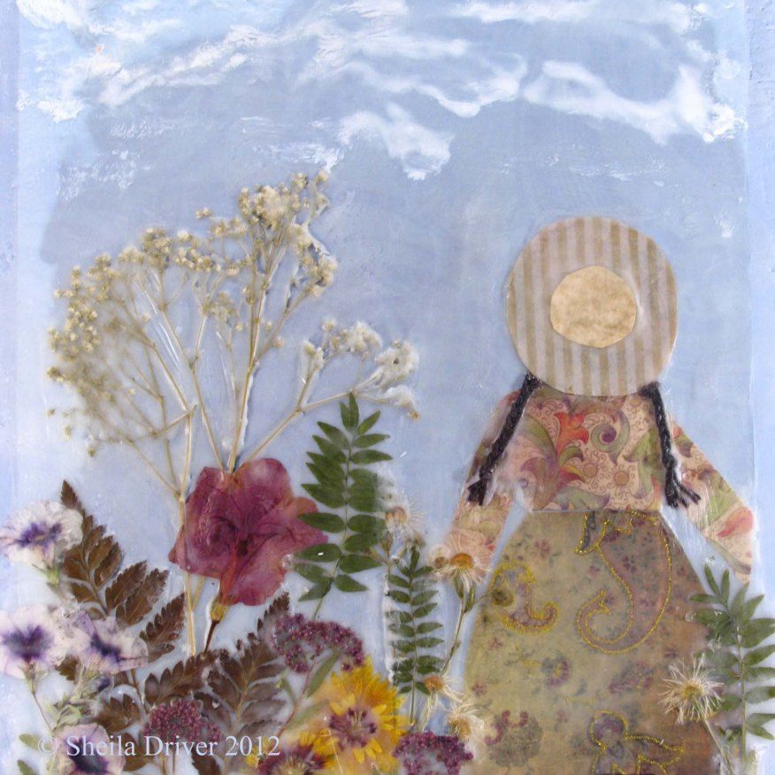 encaustic pressed flower garden painting