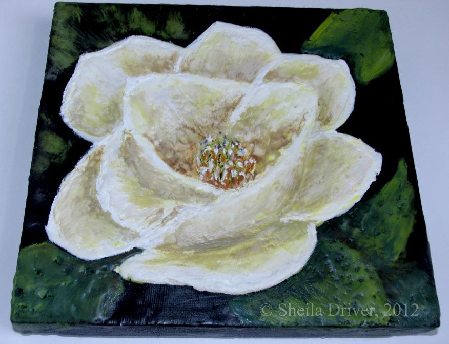 encaustic white rose painting