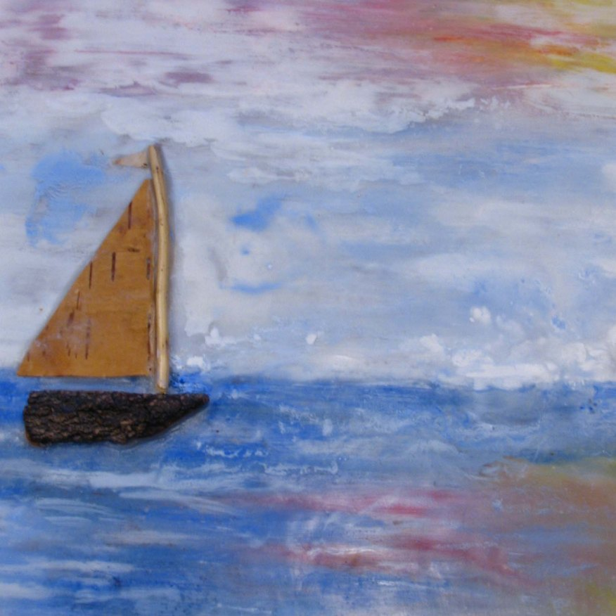 encaustic ship with sunset painting