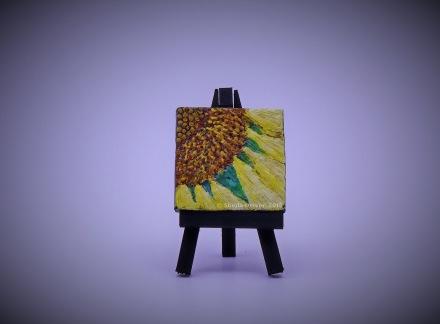 """Title: Petite Sunflower Size: 2.75'' x 2.75"""" (7 cm x 7 cm)"""